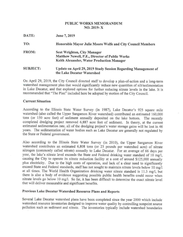 Watershed Management memo