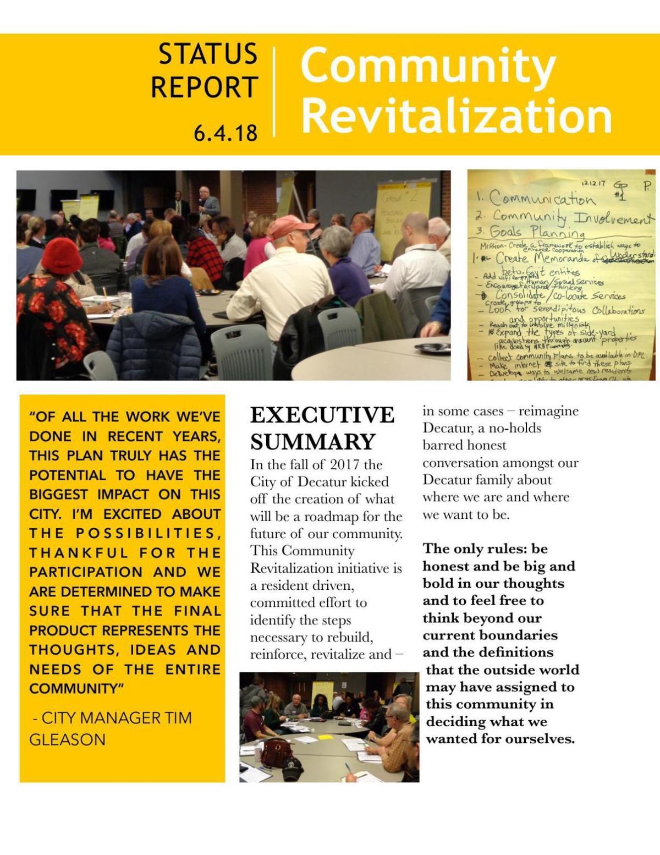Community Revitalization Status Report