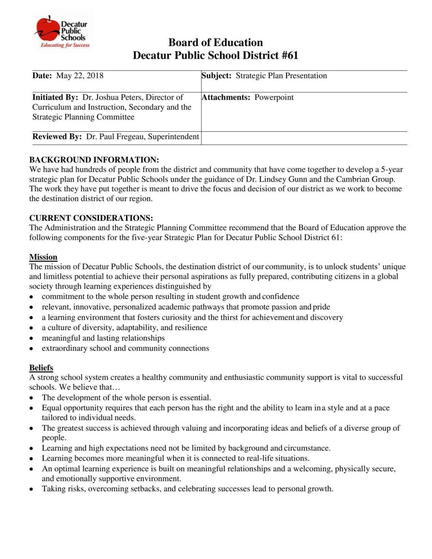 Decatur Public Schools Strategic Plan