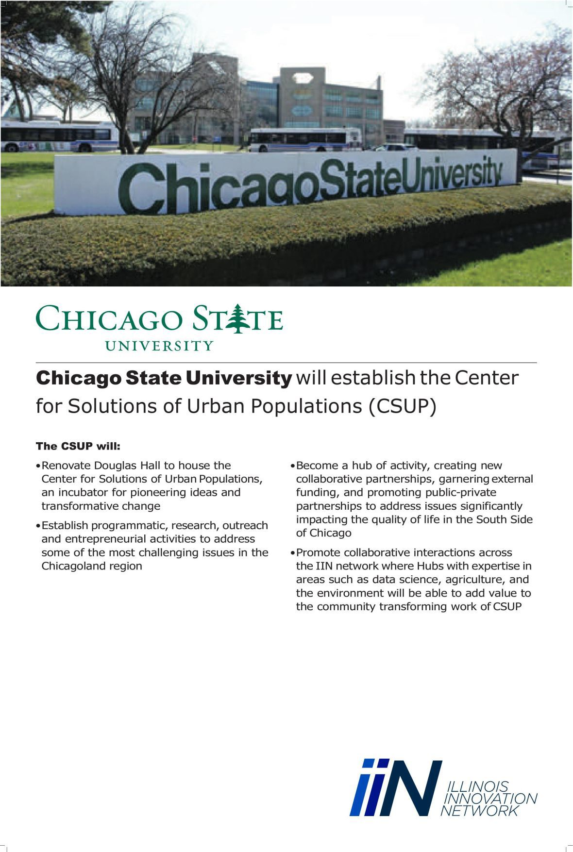 Chicag oState University's Center for Solutions of Urban Populations