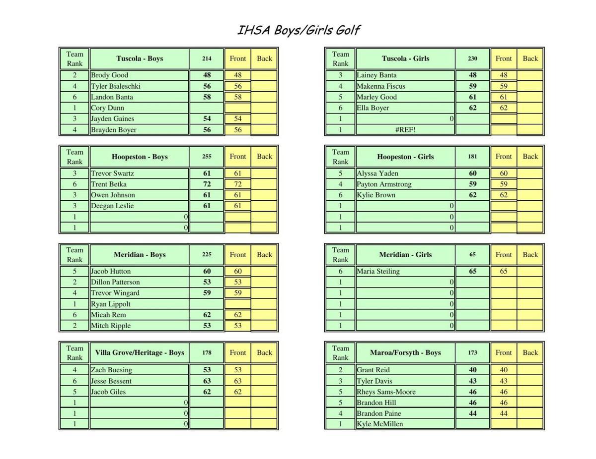 Girls Golf: Hoopeston 181, Tuscola 230, Meridian NTS, Maroa-Forsyth NTS