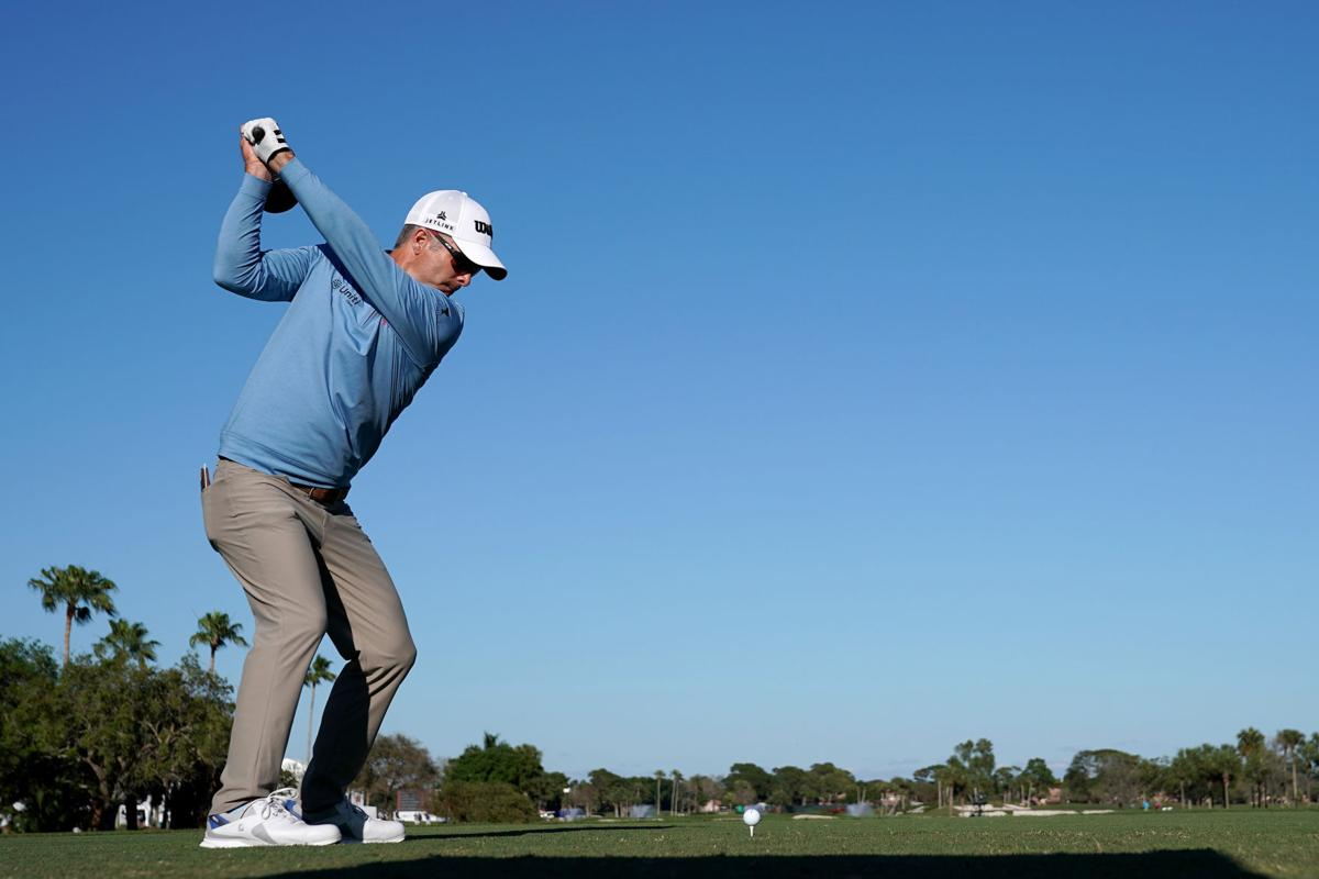 Kevin Streelman plays a shot on the 18th hole during the first round of the Honda Classic at PGA National Resort and Spa Champion course on February 27, 2020, in Palm Beach Gardens, Fla.