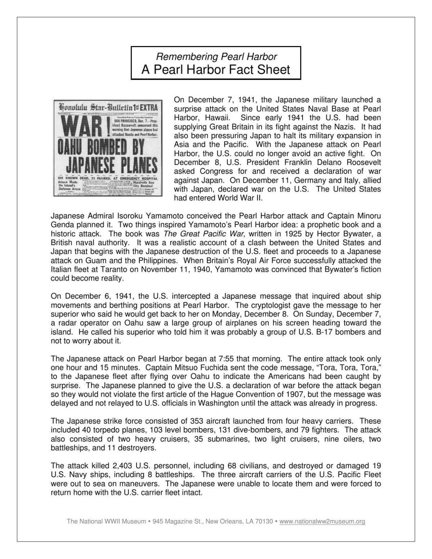 Pearl Harbor Fact Sheet