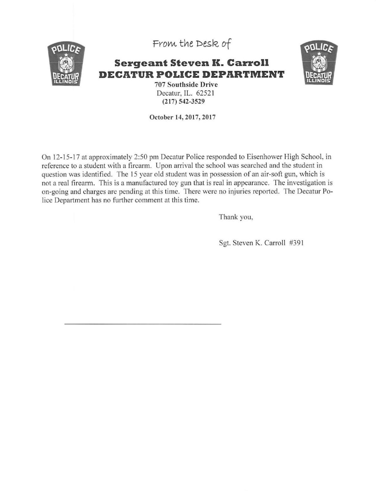 Decatur Police Department press release