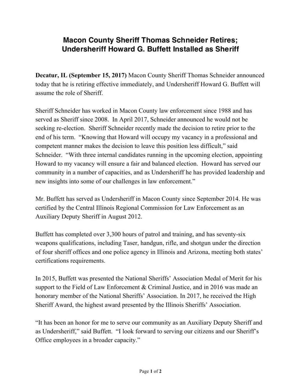 Sheriff Announcement