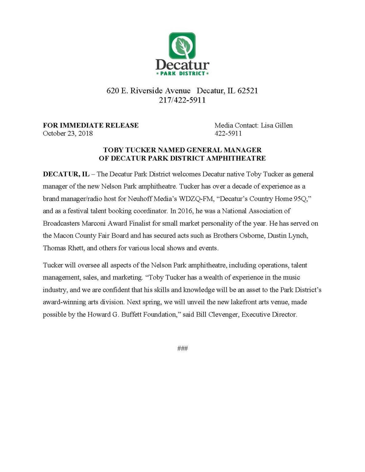 Park District press release