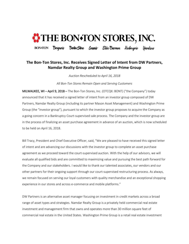 Bon-Ton Letter