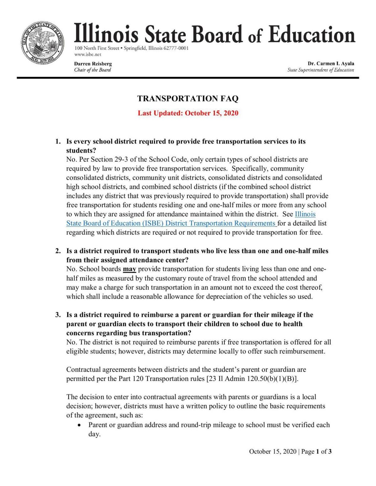 Illinois State Board of Education transportation guidelines