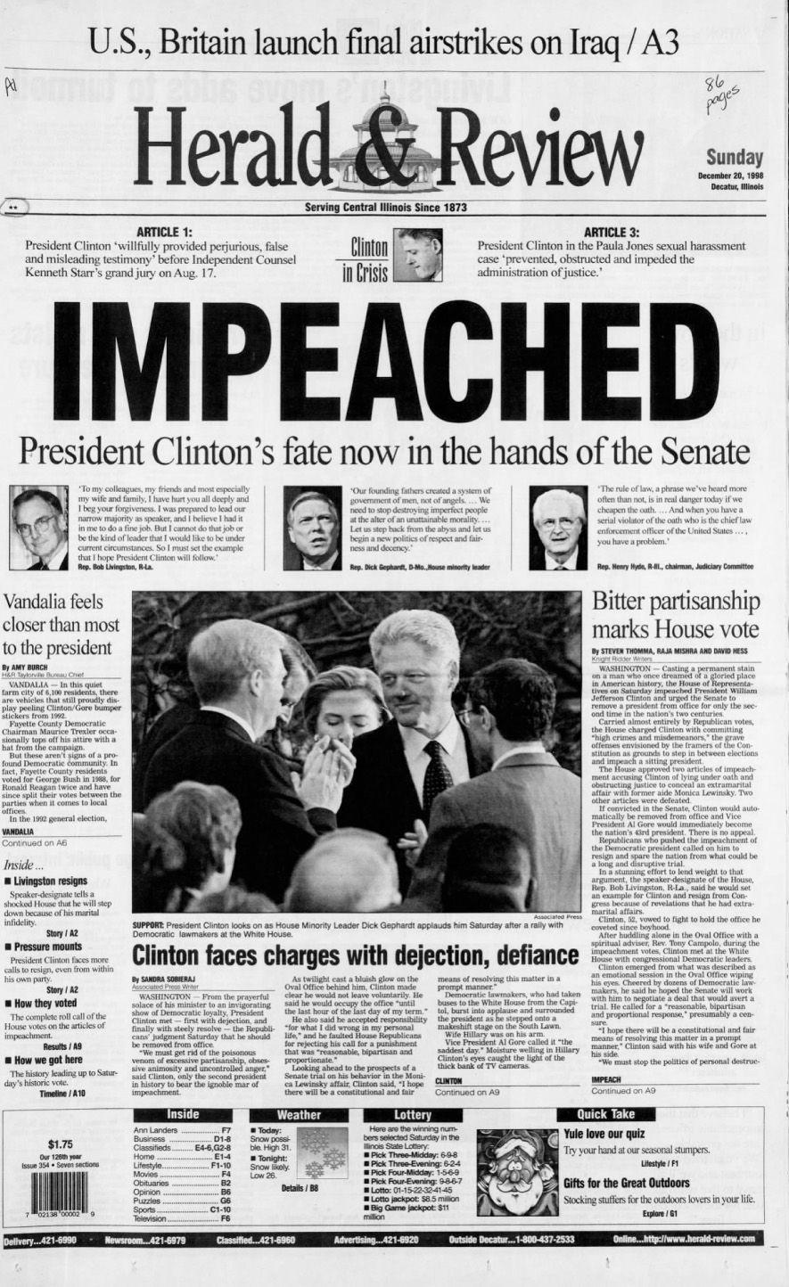 Impeached A Look At Front Pages From 1998 National Politics Herald Review Com
