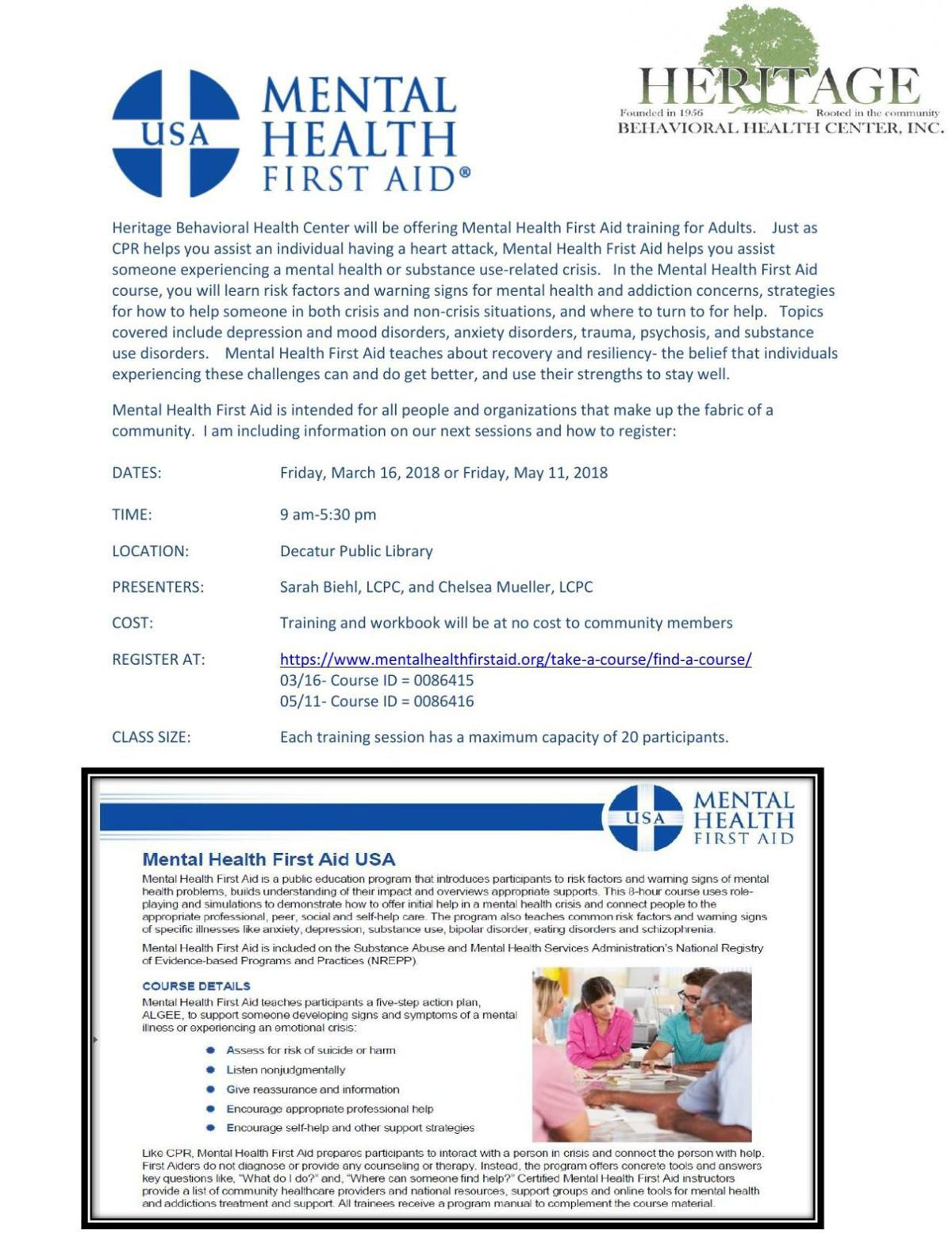 Heritage offering mental health first aid courses in ...