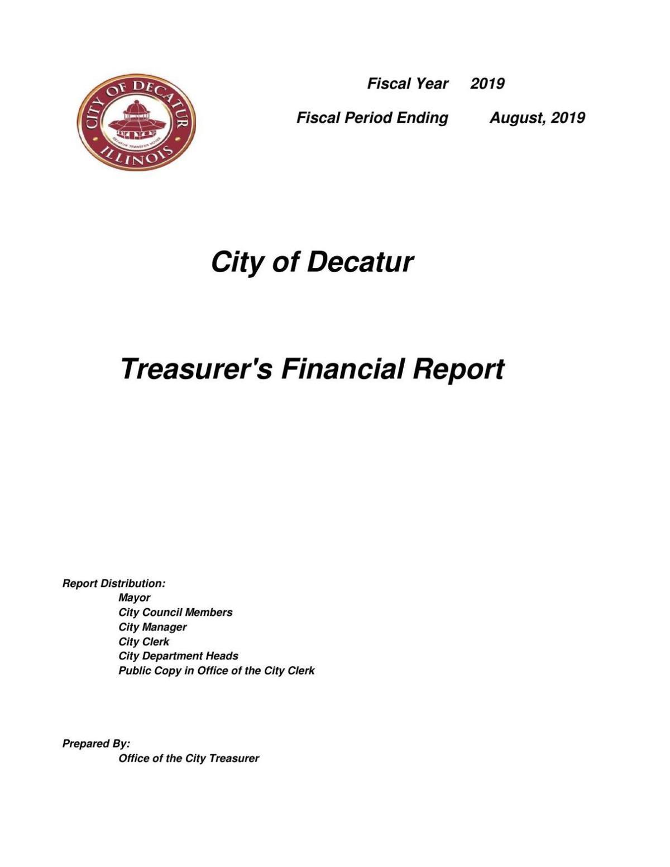 Treasurers Financial Report August 2019