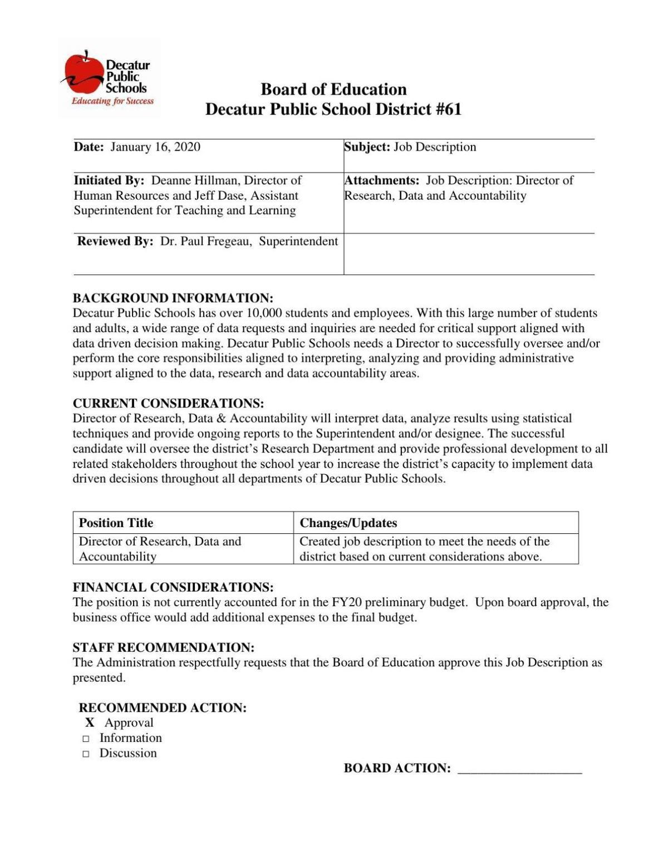 Director of Data job description
