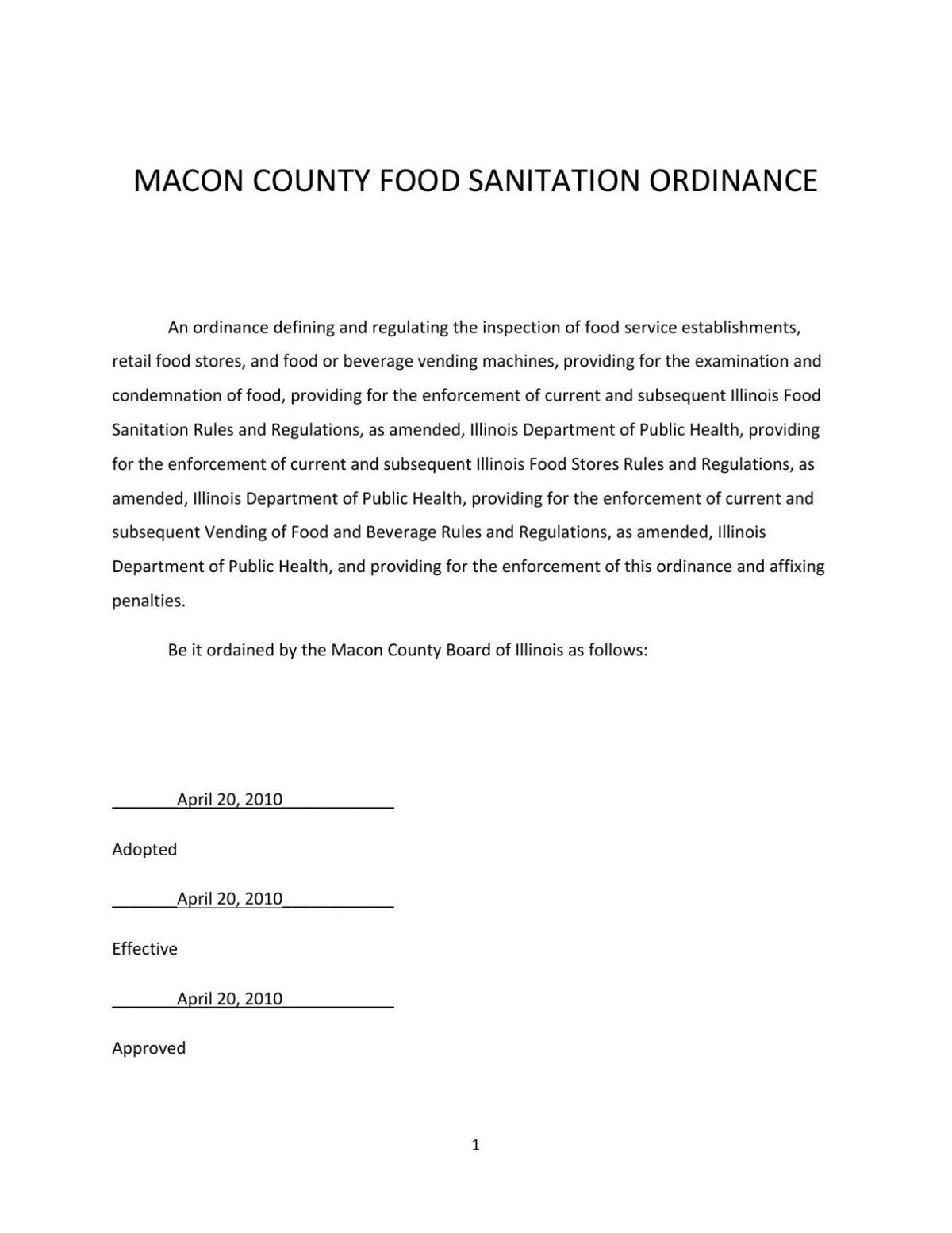 Macon County Food Sanitation Ordinance