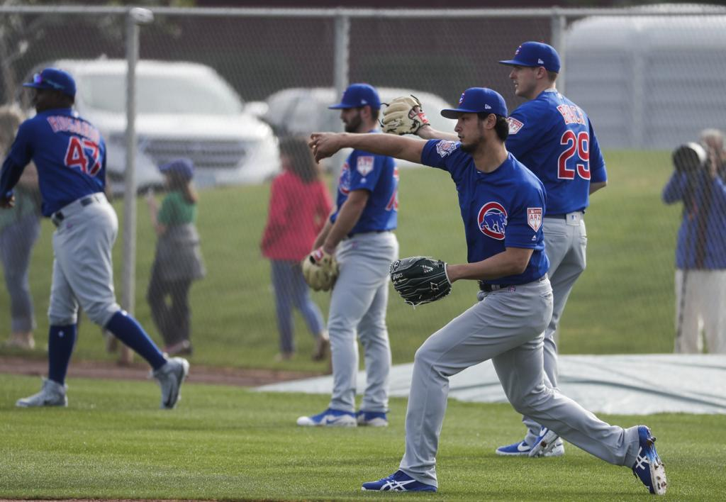 6f7516b4f Chicago Cubs  Yu Darvish throws during a spring training baseball workout  Friday