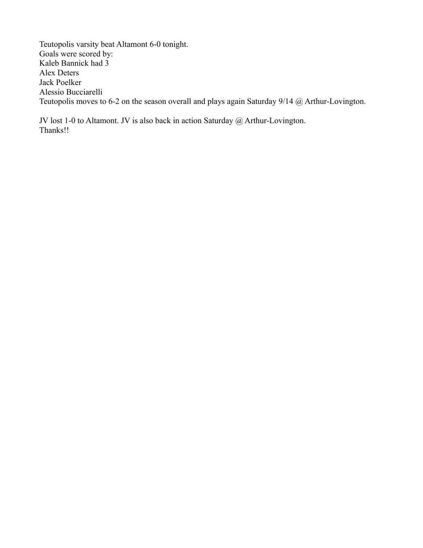 Boys Soccer: Teutopolis 6, Altamont-Beecher City 0 (Teutopolis stats)