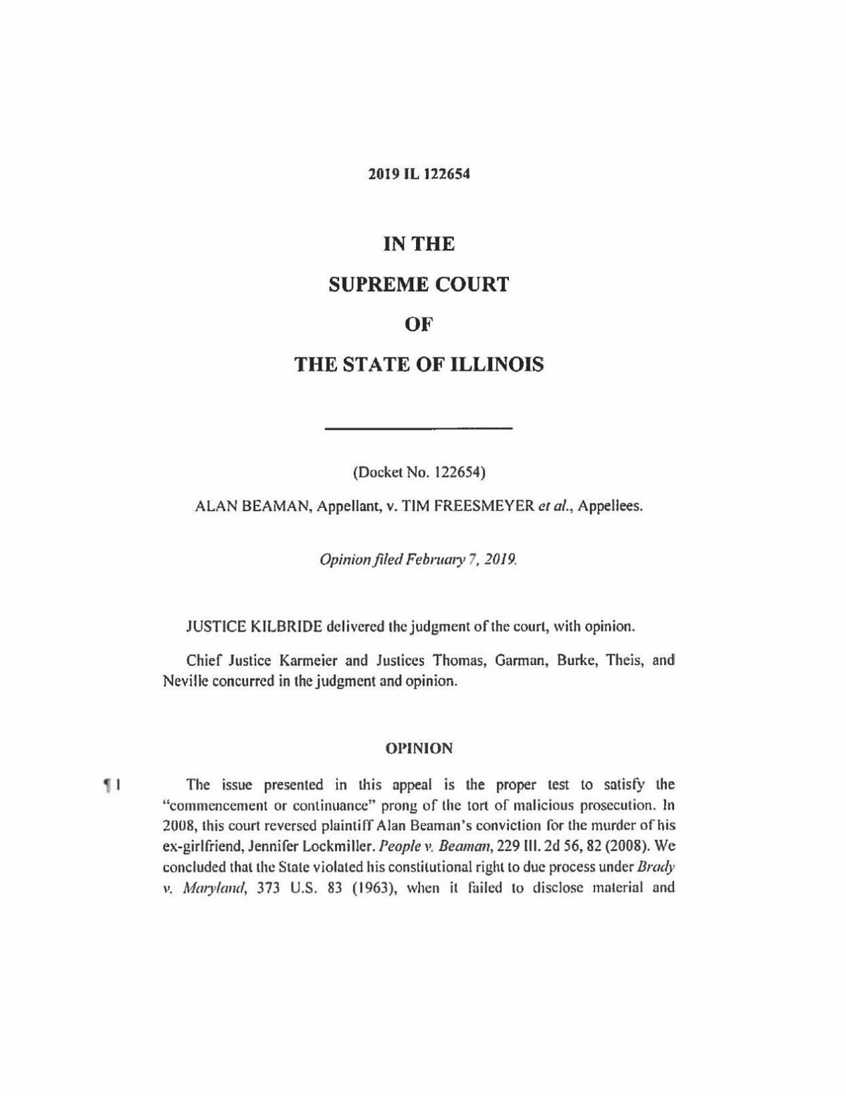 Illinois Supreme Court decision on Beaman's case here (copy)