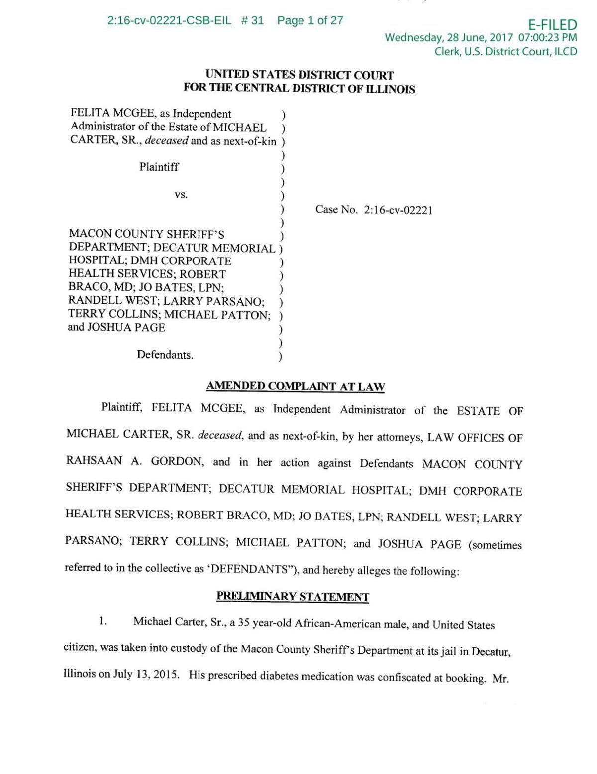 McGee Lawsuit - Amended Complaint