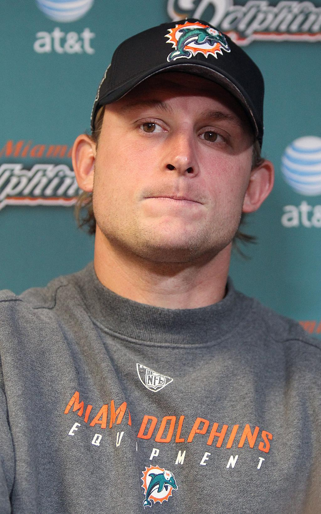 a7b5b94e82d ... Baker Mayfield to approach his rookie season. Former Miami Dolphins  quarterback Chad Pennington in a file image from 2010.