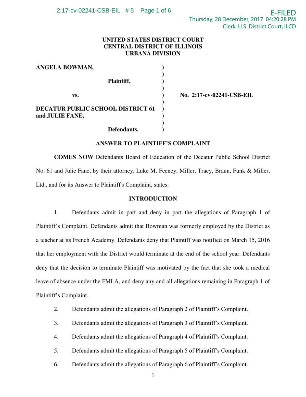 Bowman vs. Decatur School District - response