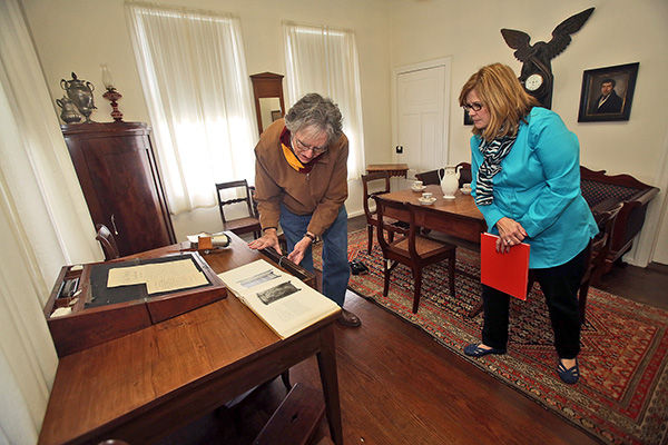 Kenneth Hafertepe And Kathy Nichols Look At A Table Attributed To  Cabinetmaker Johann Jahn At The Museum Of Texas Handmade Furniture On  Wednesday.