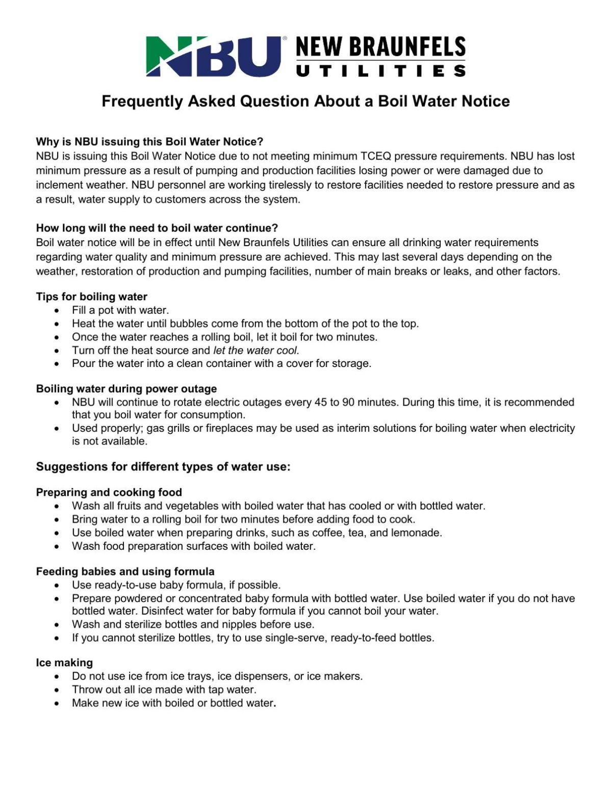 Boil Water Notice Guidelines