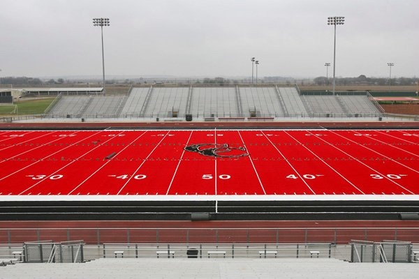 Red field at Cougar Stadium