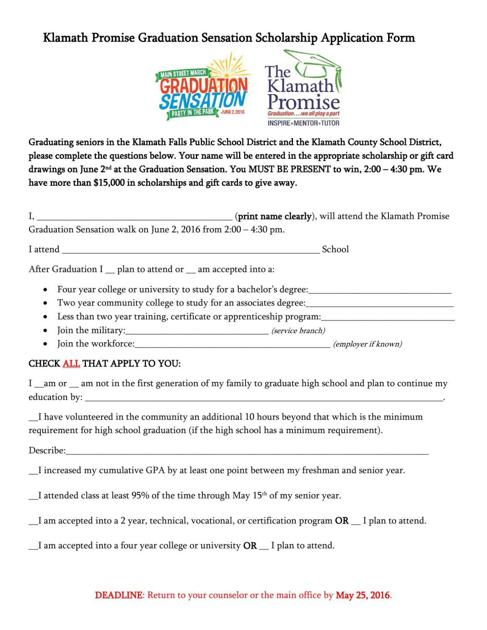 Klamath Promise Graduation Sensation Scholarship Application Form