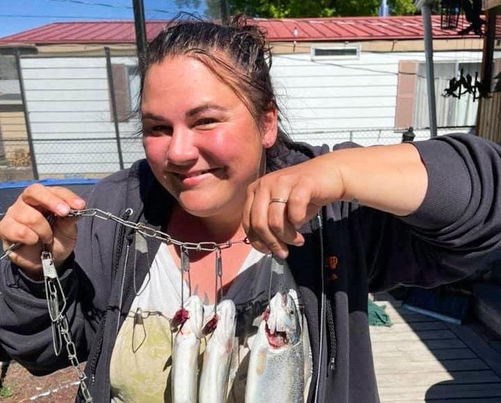 Christina Handsaker holding her catch