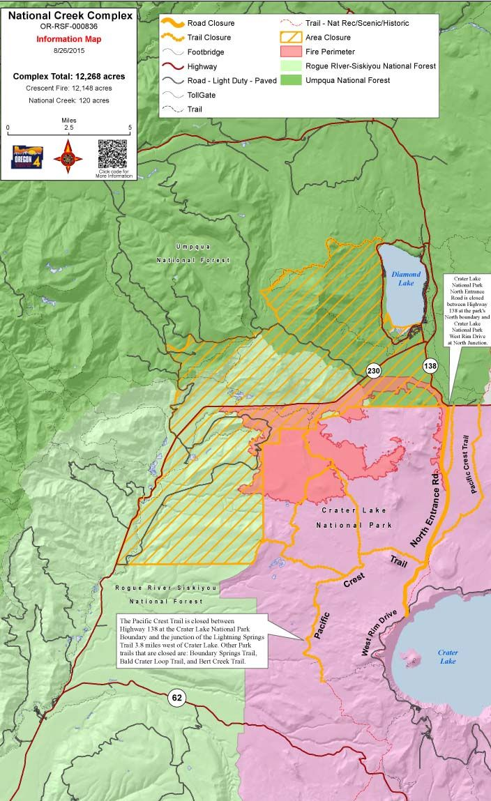 Crater Lake boundary fire update north entrance remains closed