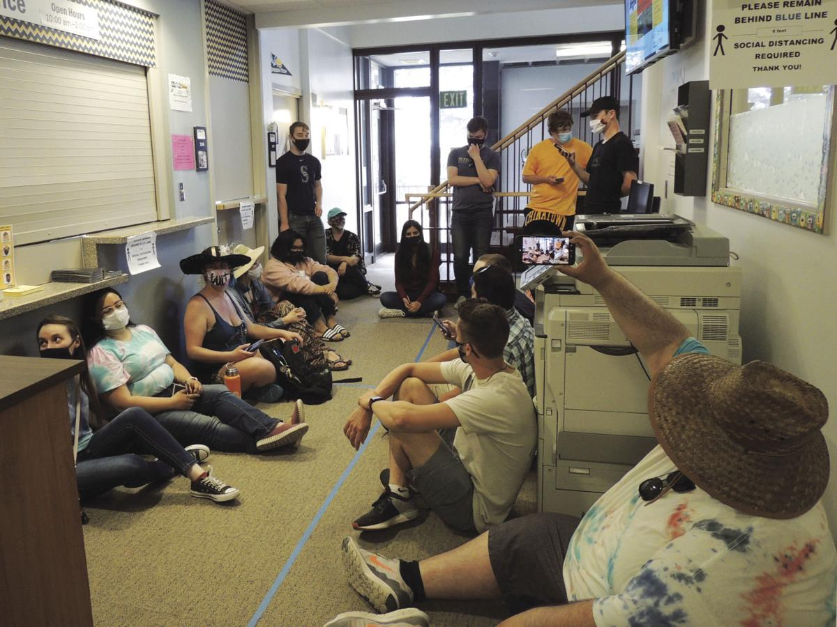 Students sit in at Snell Hall