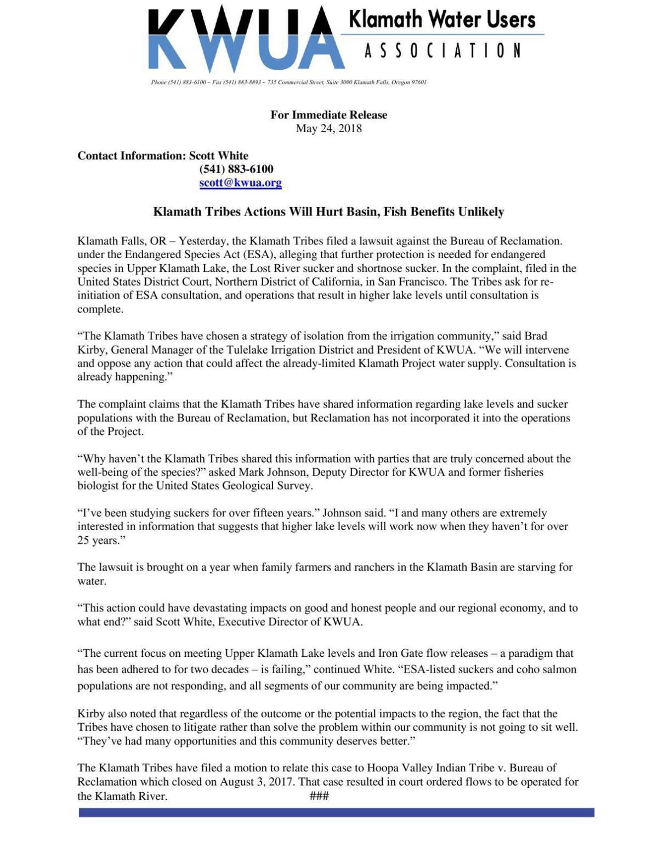Klamath Water Users Association response