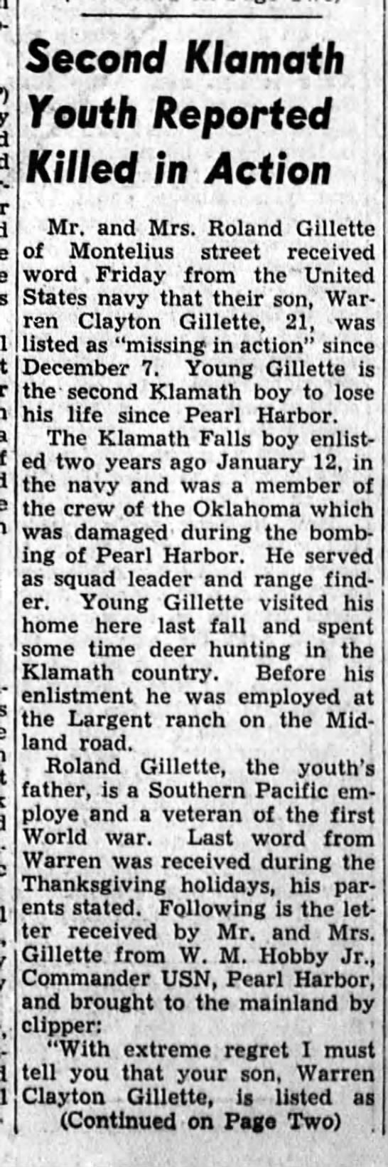 Gillette news clipping (part 1)