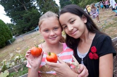 Kids and tomatoes