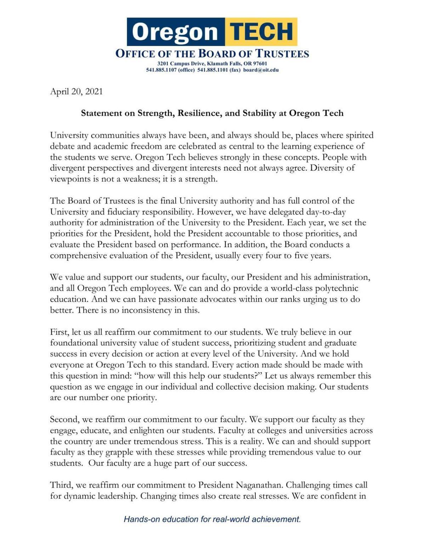 Board of Trustees statement