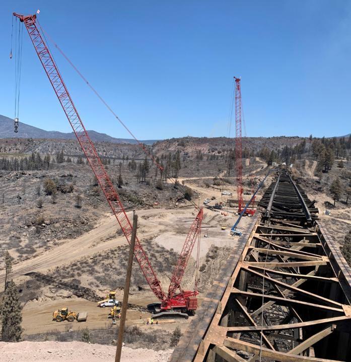 Union Pacific repairing bridge