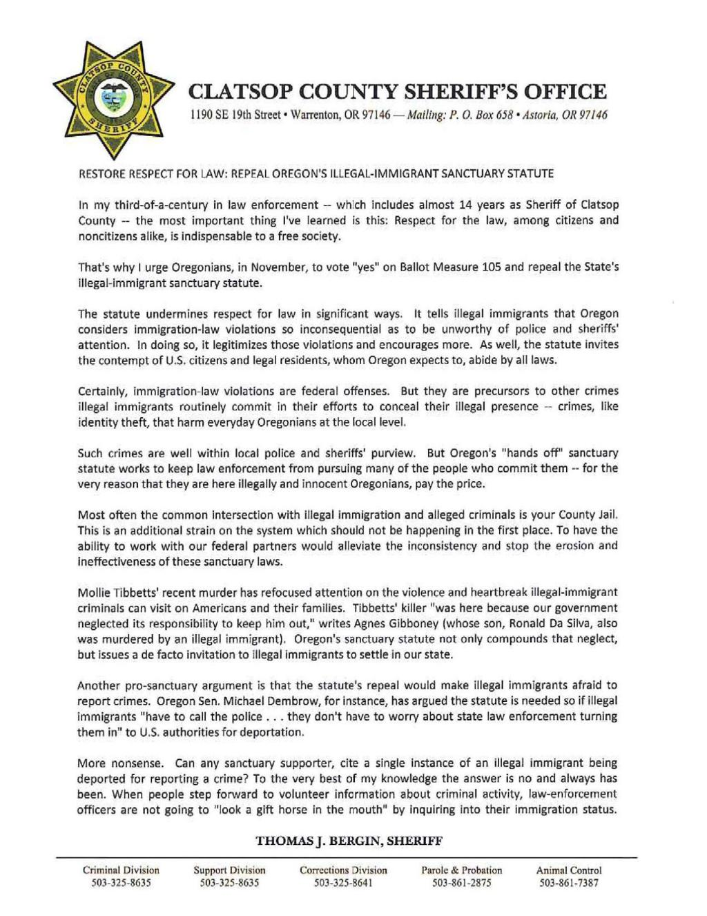 Sheriff responds to letter calling for sanctuary law repeal