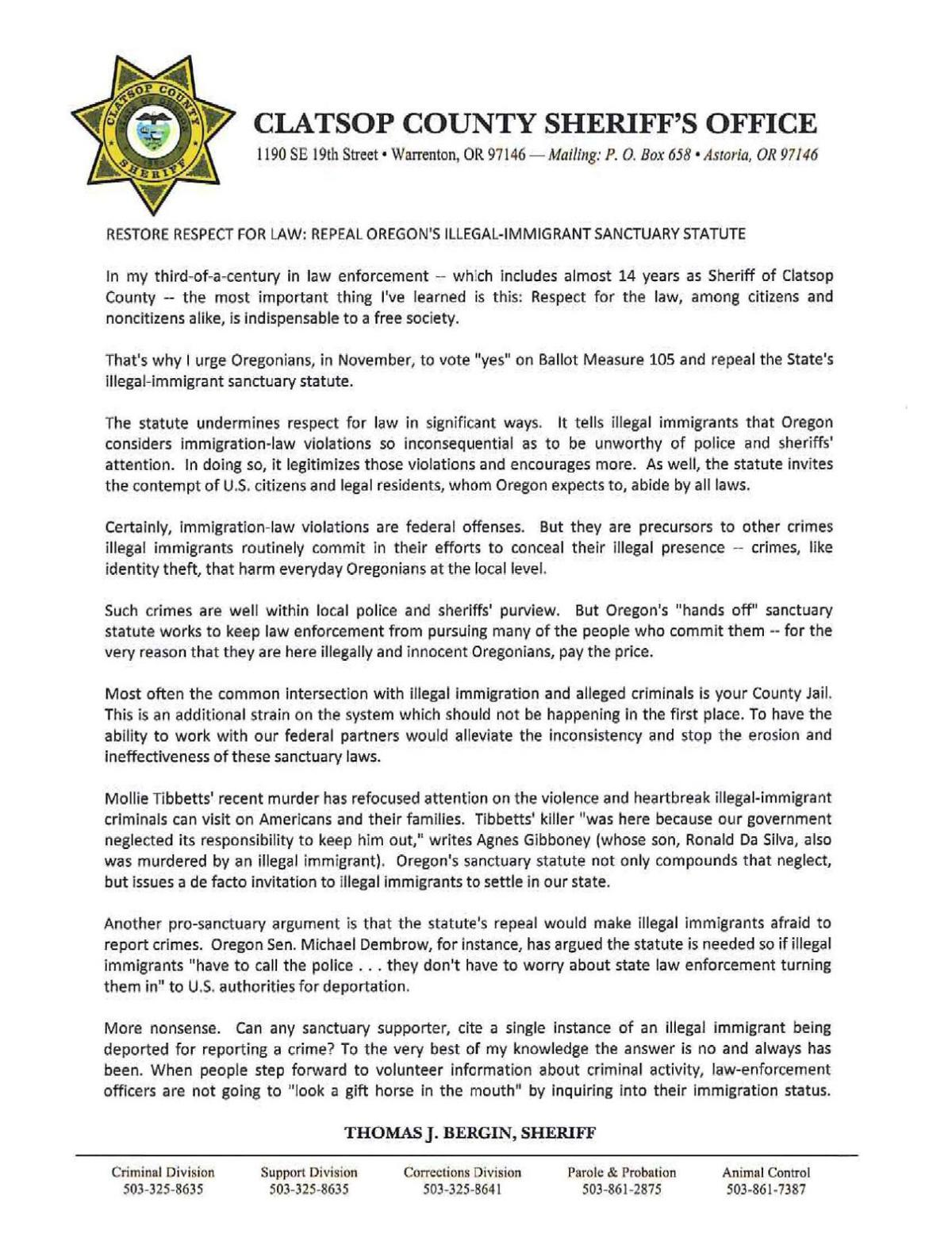 Kaber endorses letter from Clatsop Co  Sheriff's Office