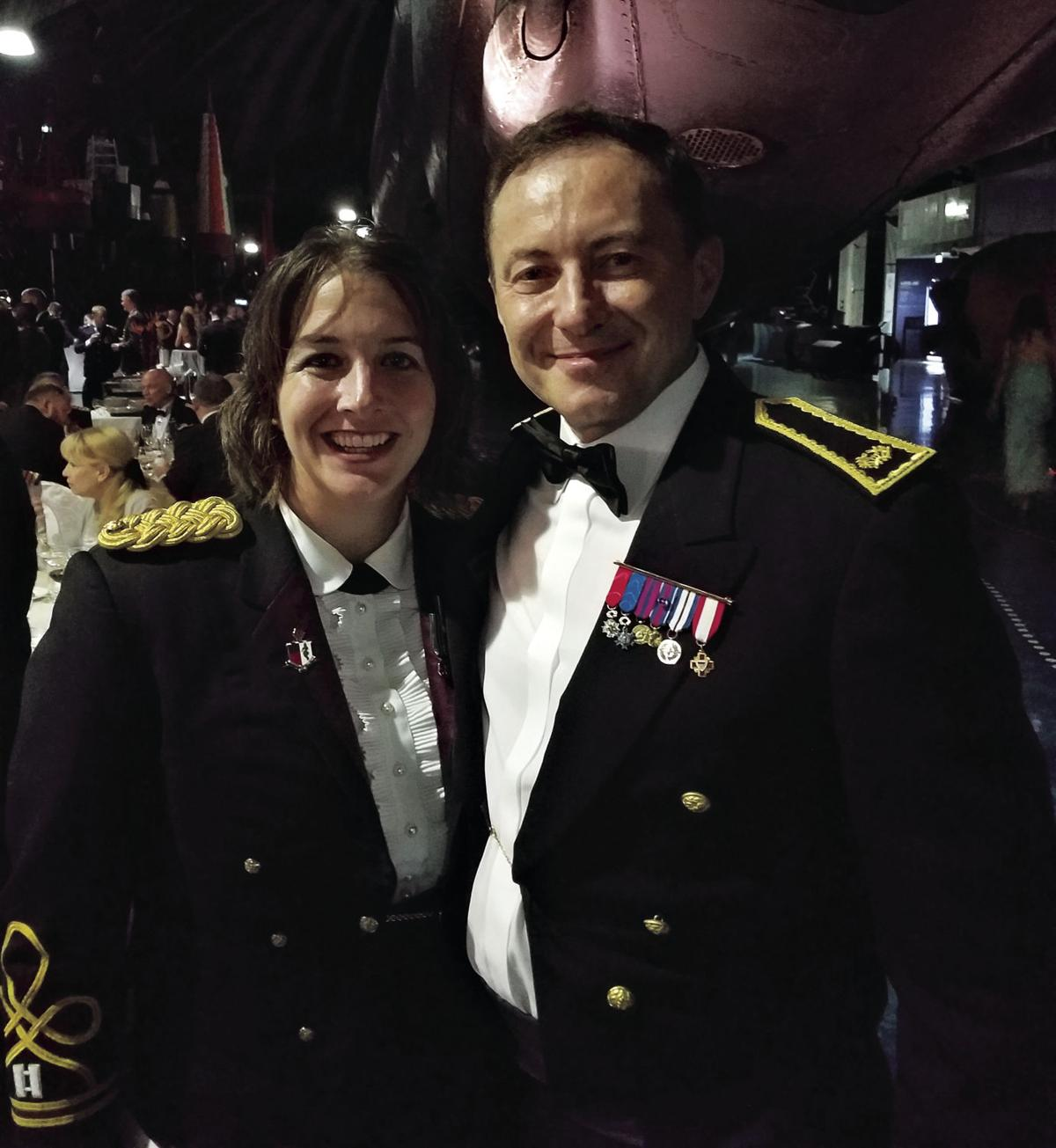 Maj. Katie Odom with Brig. Gen. Francois Martelet
