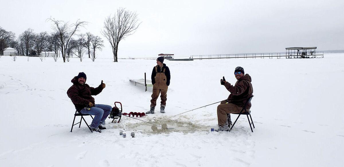 Ice fishing on Lake Tawakoni