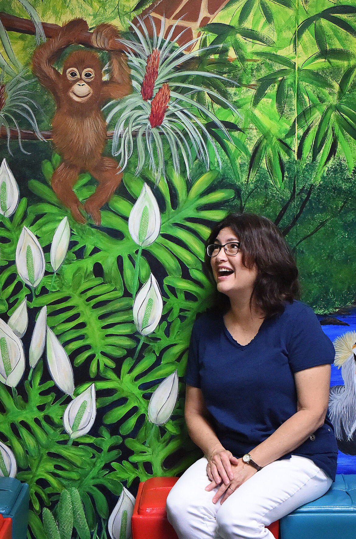 With one of her murals