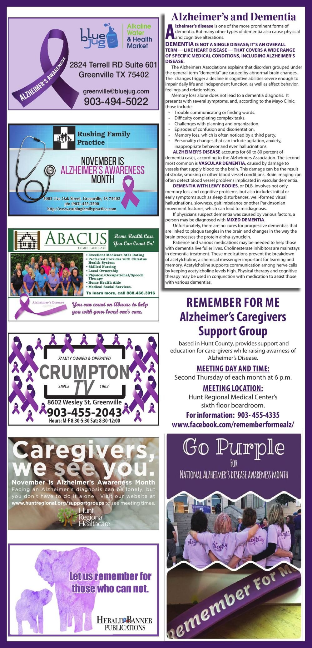 2019 Alzheimers Awareness Page
