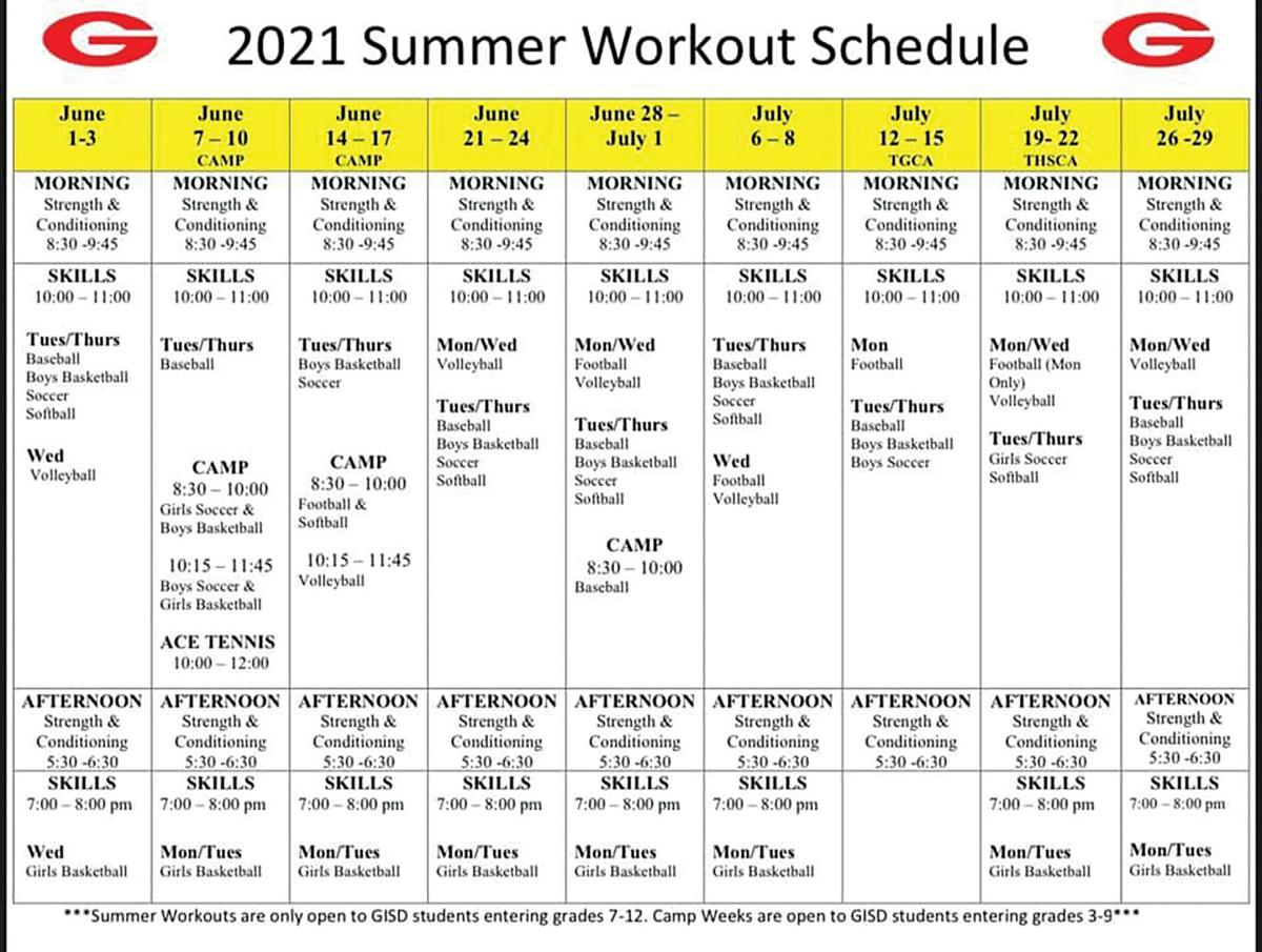 GISD summer workout schedule