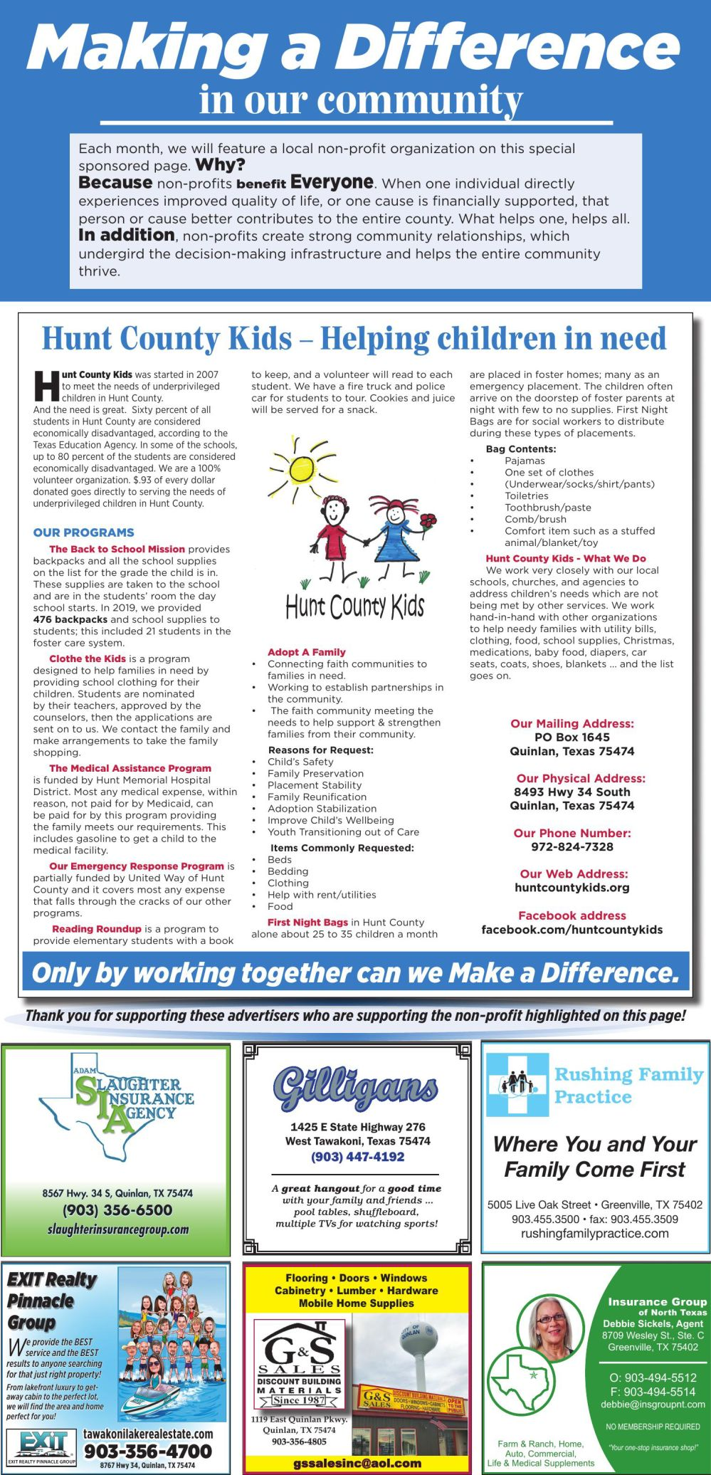 Making a Difference Hunt County Kids