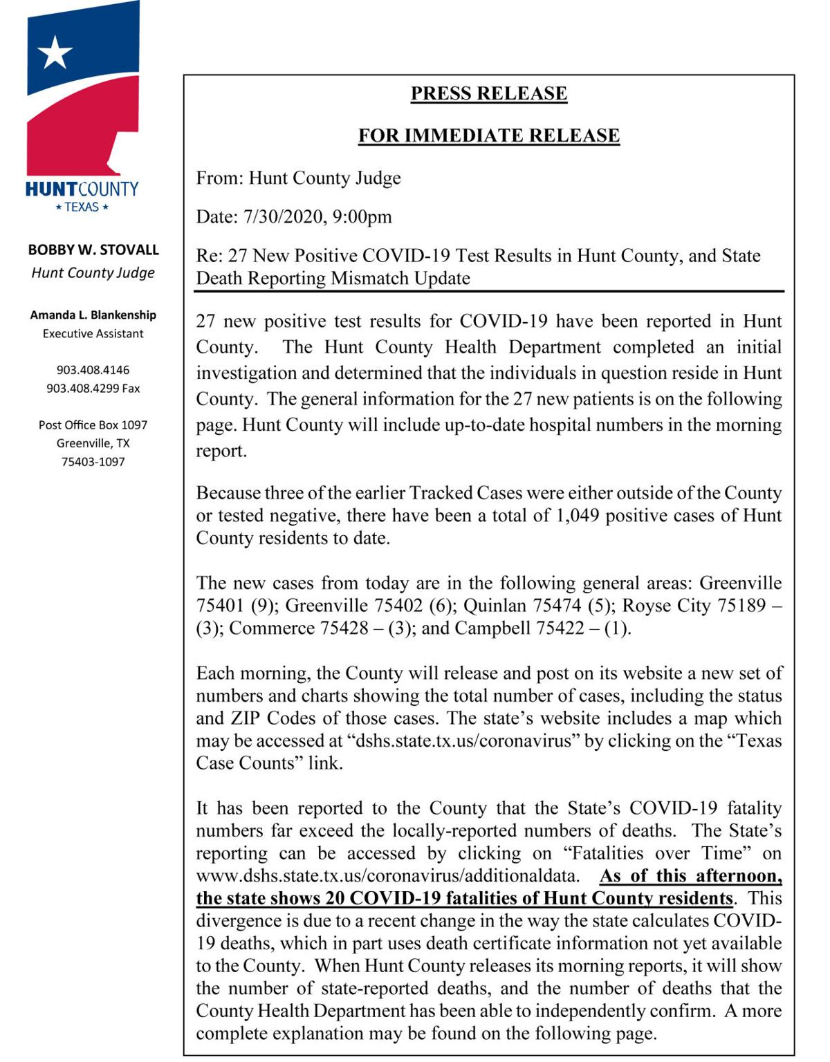 County adds 27 COVID-19 victims