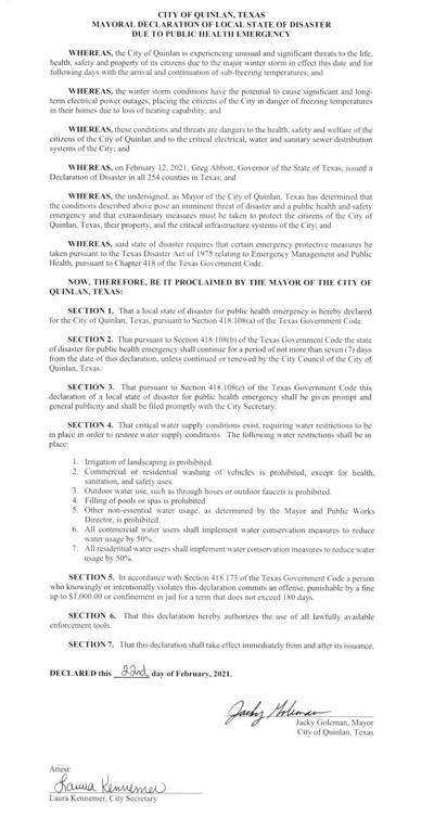 Mayor's declaration