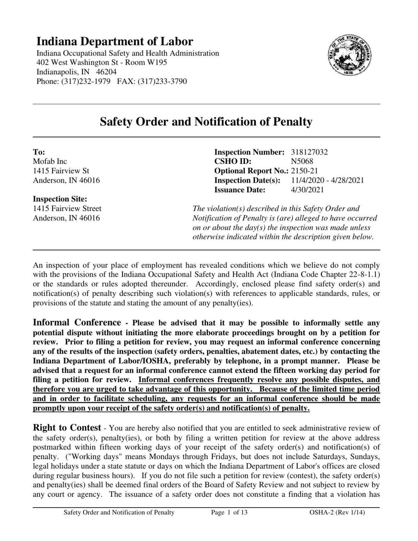 MOFAB violations