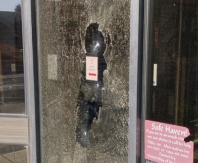 Shattered glass at sheriff's station