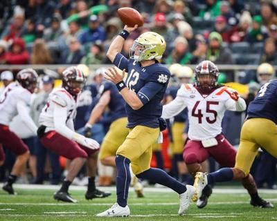 Ian Book throwing vs. Virginia Tech