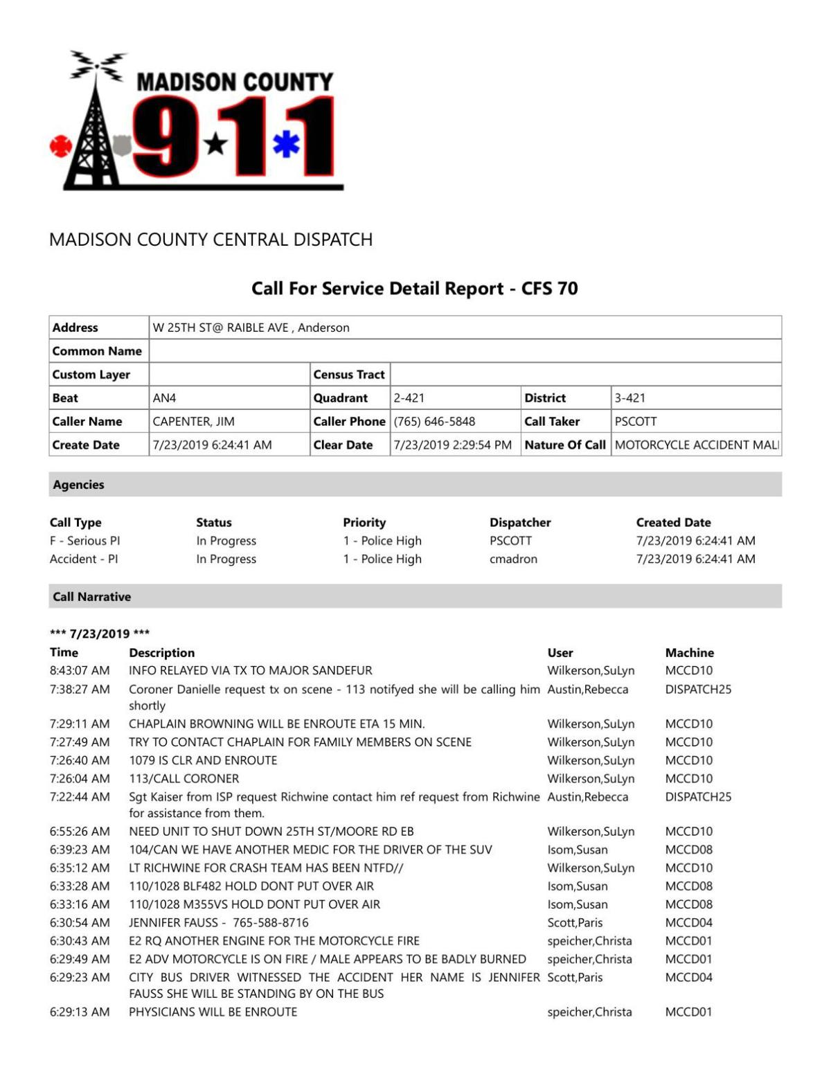 Call detail from July 23 motorcycle accident