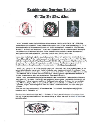 Flier distributed by the Traditionalist American Knights of the Ku Klux Klan